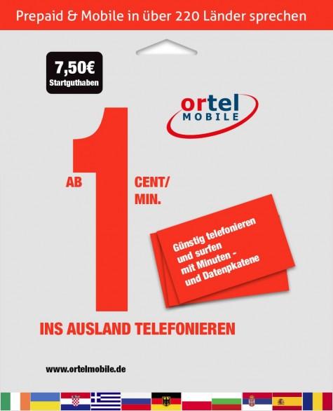 Ortel Mobile SIM-Karte mit 7.50 € Startguthaben